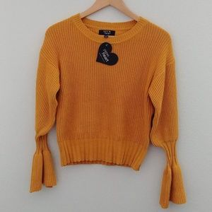 Paper Heart Flare Sleeve Knit Sweater